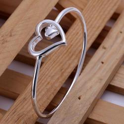 Sterling Silver Hollow Heart Emblem Petite Bangle - Thumbnail 0