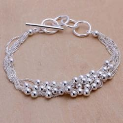 Vienna Jewelry Sterling Silver Multi-Orchid Clasp Closure Bracelet - Thumbnail 0