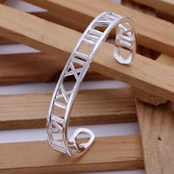 Sterling Silver Roman Numerals Open Bangle - Thumbnail 0