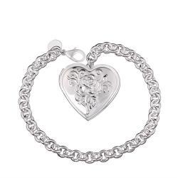 Vienna Jewelry Sterling Silver Ingrain Heart Emblem Bracelet - Thumbnail 0