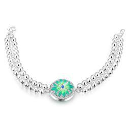 Vienna Jewelry Sterling Silver Circular Emerald Emblem Bracelet - Thumbnail 0