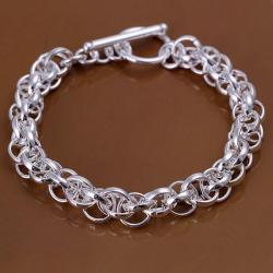Vienna Jewelry Sterling Silver Interconnected Chain Bracelet - Thumbnail 0