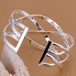 Sterling Silver Laser Cut Intertwined Bangle - Thumbnail 0