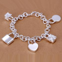 Vienna Jewelry Sterling Silver Multi Classic Charm Bracelet - Thumbnail 0