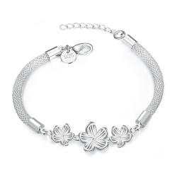 Vienna Jewelry Sterling Silver Trio-Floral Petal Connecting Bracelet - Thumbnail 0