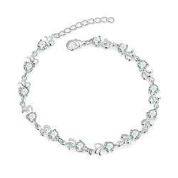 Vienna Jewelry Sterling Silver Multi-Crystal Connecting Bracelet - Thumbnail 0