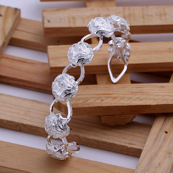 Sterling Silver Multi-Floral Inprint Open Bangle