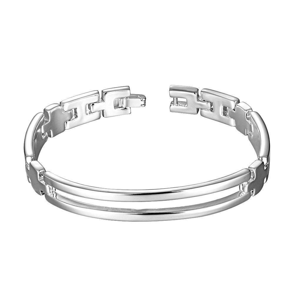 Vienna Jewelry Sterling Silver Thin Laser Cut Sleek Classic Bracelet