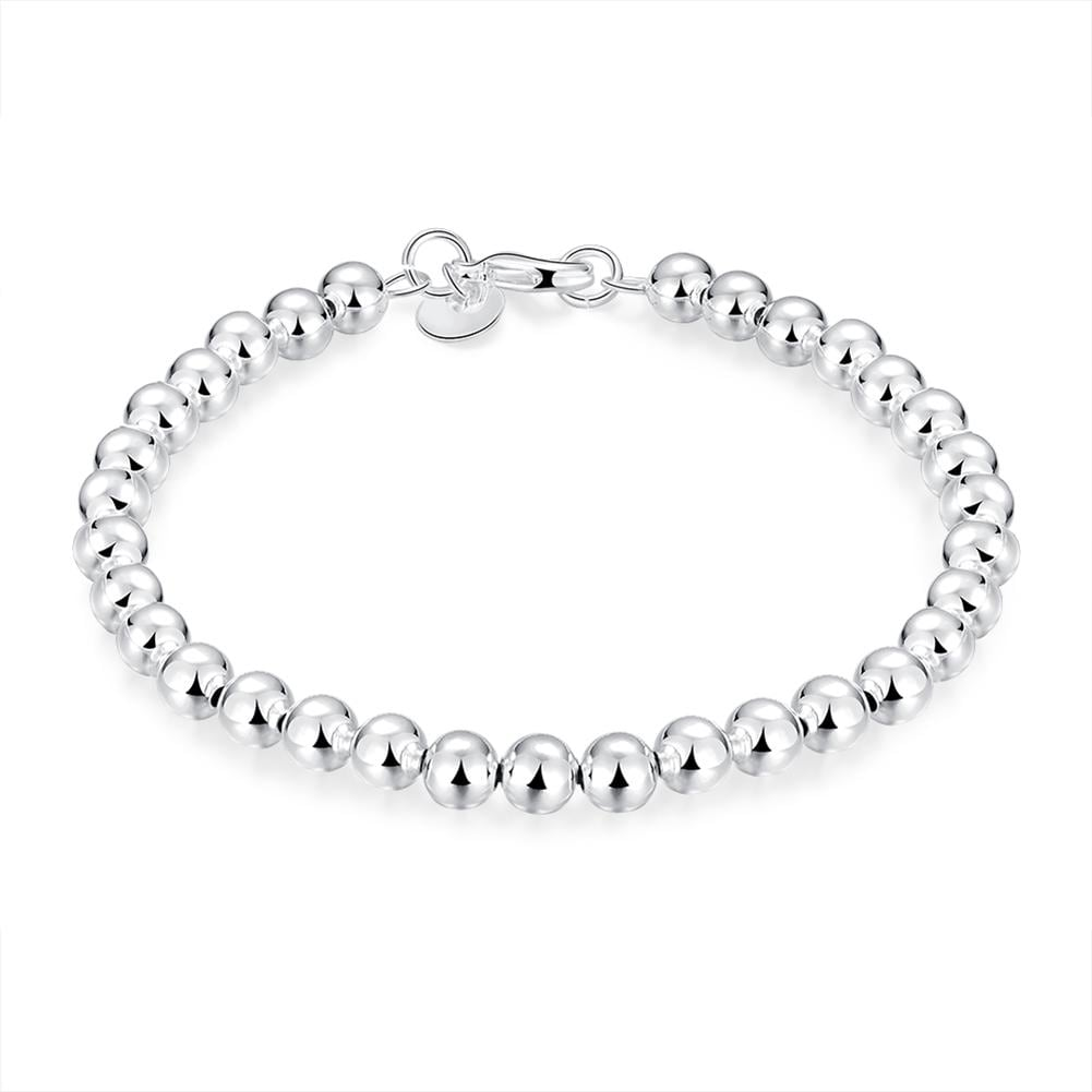 Vienna Jewelry Sterling Silver Multi-Bead Sleek Bracelet