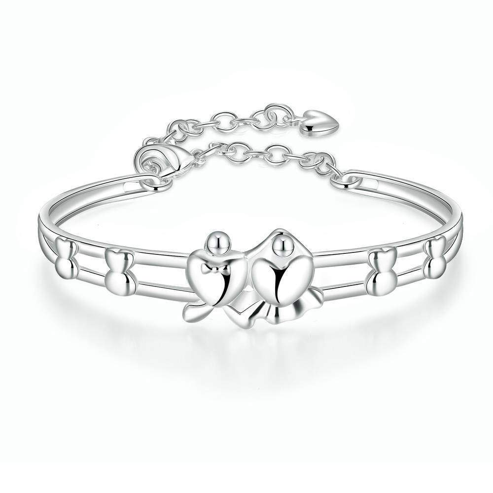 Vienna Jewelry Sterling Silver Petite Heart Ingrain Bangle