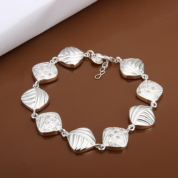 Vienna Jewelry Sterling Silver Rhombus Shaped Connected Bracelet