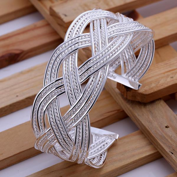 Vienna Jewelry Sterling Silver Intertwined London Inspired Bangle