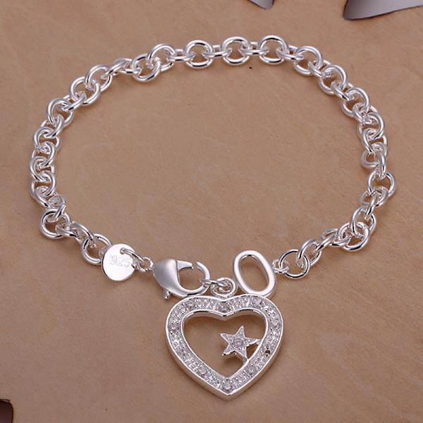 Vienna Jewelry Sterling Silver Petite Hollow Heart Bracelet