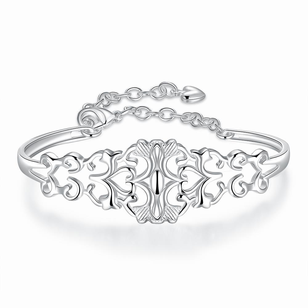 Vienna Jewelry Sterling Silver Laser Cut Multi-Clover Bangle
