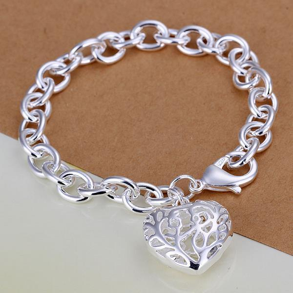 Vienna Jewelry Sterling Silver Laser Cut Heart Shaped Bracelet