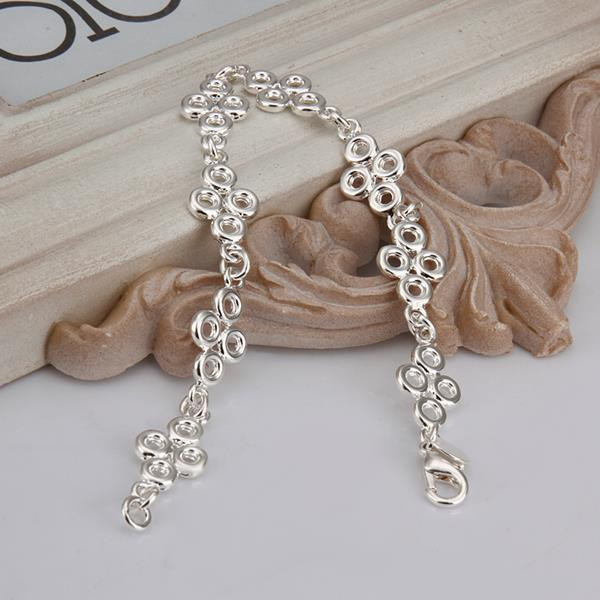 Vienna Jewelry Sterling Silver Multi Circular Emblem Connected Bracelet