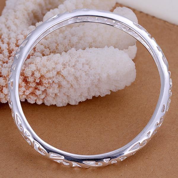 Vienna Jewelry Sterling Silver Laser Cut Petite Bangle