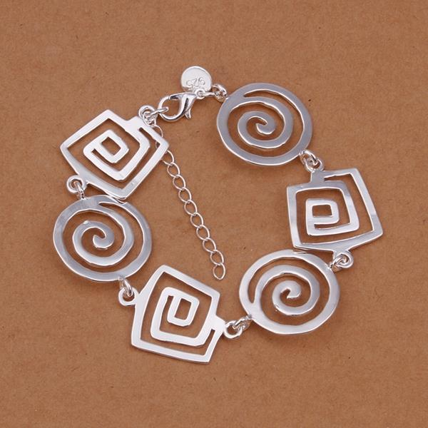 Vienna Jewelry Sterling Silver Laser Cut Swirl Shaped Connected Bracelet
