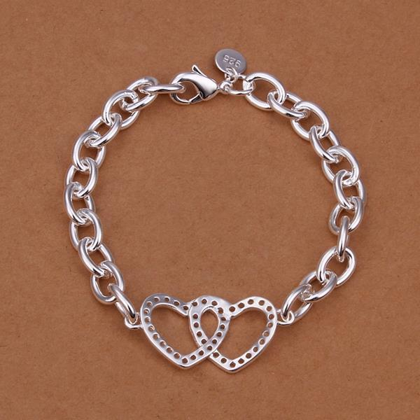 Vienna Jewelry Sterling Silver Duo-Hearts Chain Connected Bracelet