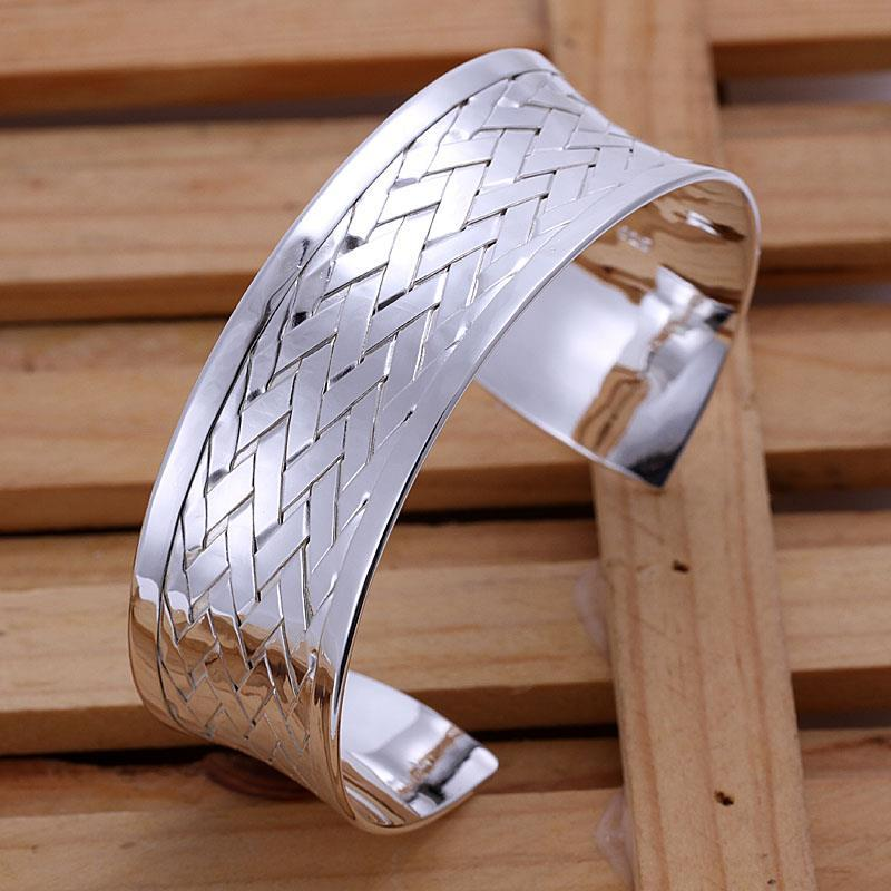 Vienna Jewelry Sterling Silver Laser Cut Ingrain Open Bangle - Thumbnail 0