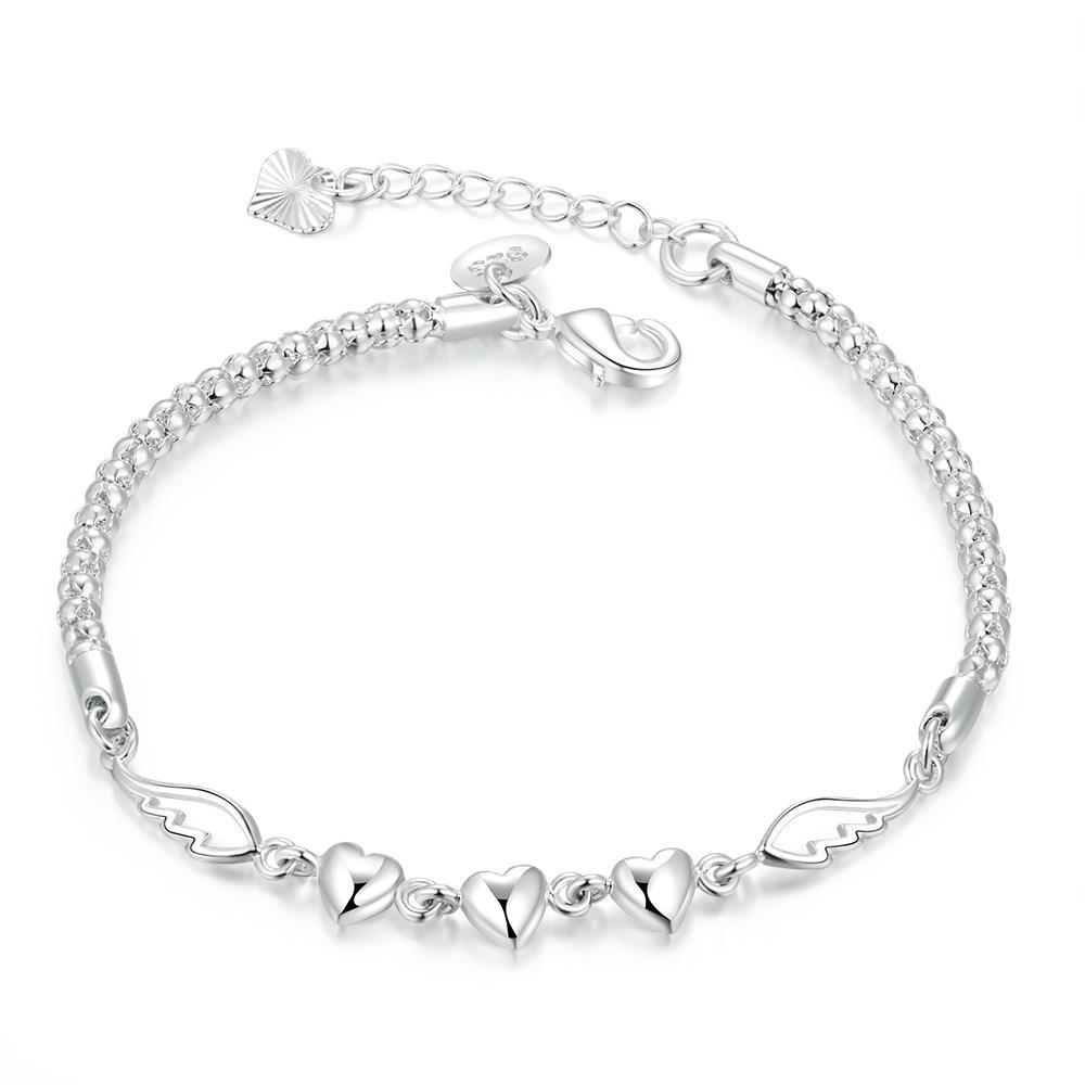 Vienna Jewelry Sterling Silver Trio Heart Pendant Chain Bracelet