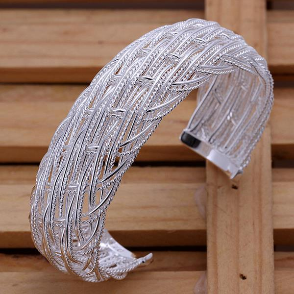 Sterling Silver Large Intertwined Large Open Bangle