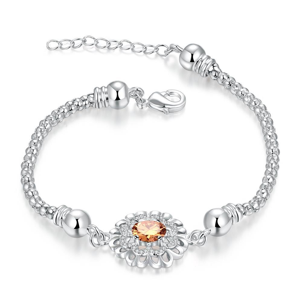 Vienna Jewelry Sterling Silver Orange Citrine Circular Emblem Bracelet