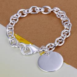 Vienna Jewelry Sterling Silver Petite Circular Emblem Bracelet - Thumbnail 0