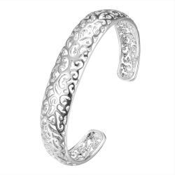 Sterling Silver Laser Cut Design Open Bangle - Thumbnail 0