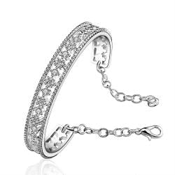 Sterling Silver Laser Cut Open Bangle with Chain - Thumbnail 0