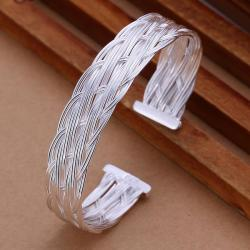 Sterling Silver Intertwined Layering Open Bangle - Thumbnail 0