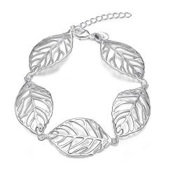 Vienna Jewelry Sterling Silver Connecting Leaf Bracelet - Thumbnail 0