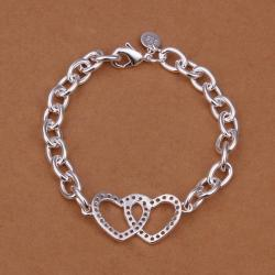 Vienna Jewelry Sterling Silver Duo-Hearts Chain Connected Bracelet - Thumbnail 0