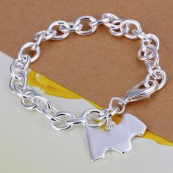 Vienna Jewelry Sterling Silver Petite Puppy Emblem Bracelet - Thumbnail 0