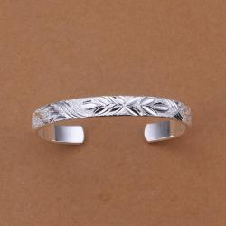 Sterling Silver Classical Ingrain Open Bangle - Thumbnail 0