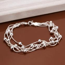 Vienna Jewelry Sterling Silver Multi Pearl Lined Bracelet - Thumbnail 0