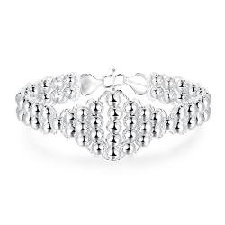 Vienna Jewelry Sterling Silver Diamond Shaped Pearl Connecting Bracelet - Thumbnail 0
