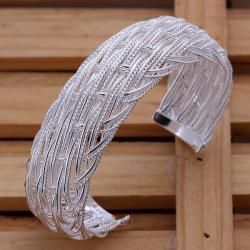 Sterling Silver Large Intertwined Large Open Bangle - Thumbnail 0