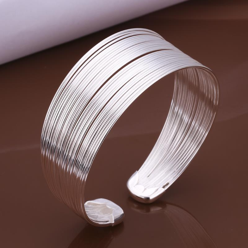 Vienna Jewelry Sterling Silver Multi Lined Bangle