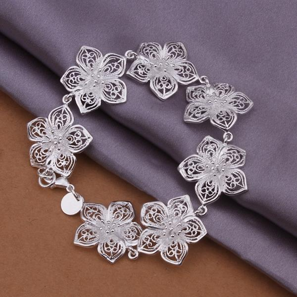 Vienna Jewelry Sterling Silver Multi-Floral Petals Connected Bracelet