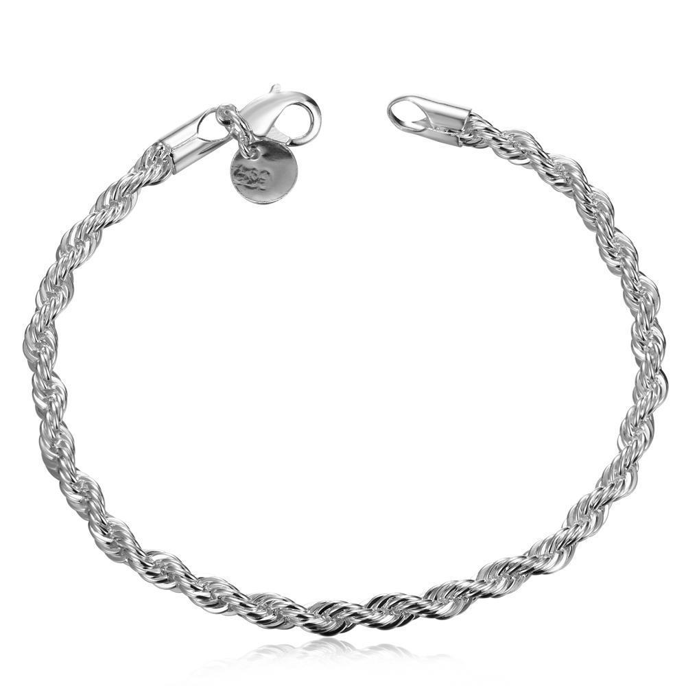 Vienna Jewelry Sterling Silver Petite Intertwined Modern Bracelet