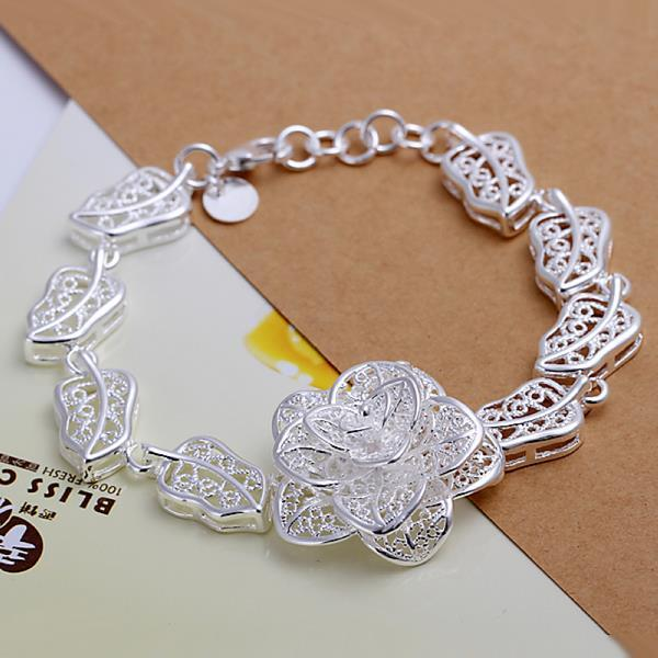 Vienna Jewelry Sterling Silver Blossoming Laser Cut Floral Bracelet