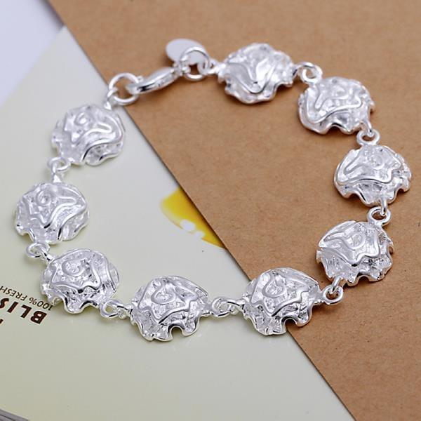 Vienna Jewelry Sterling Silver Multi Floral Petal Bracelet