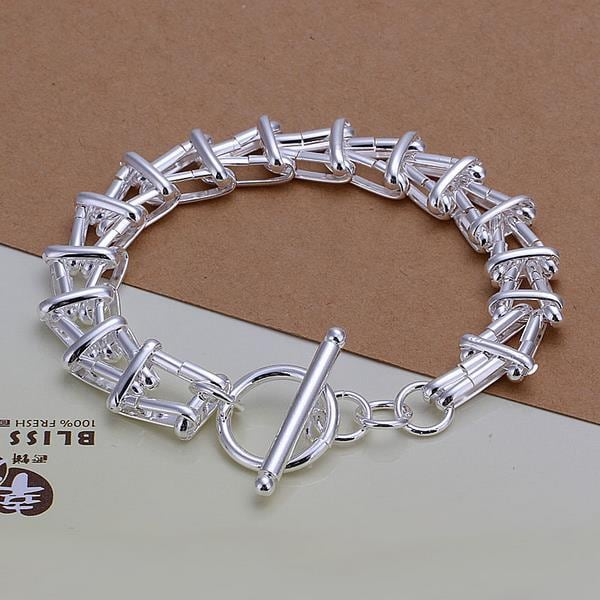 Vienna Jewelry Sterling Silver Multi Layered Connected Bracelet