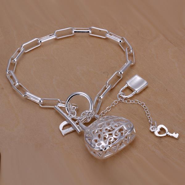 Vienna Jewelry Sterling Silver Laser Cut Heart & Charms Bracelet
