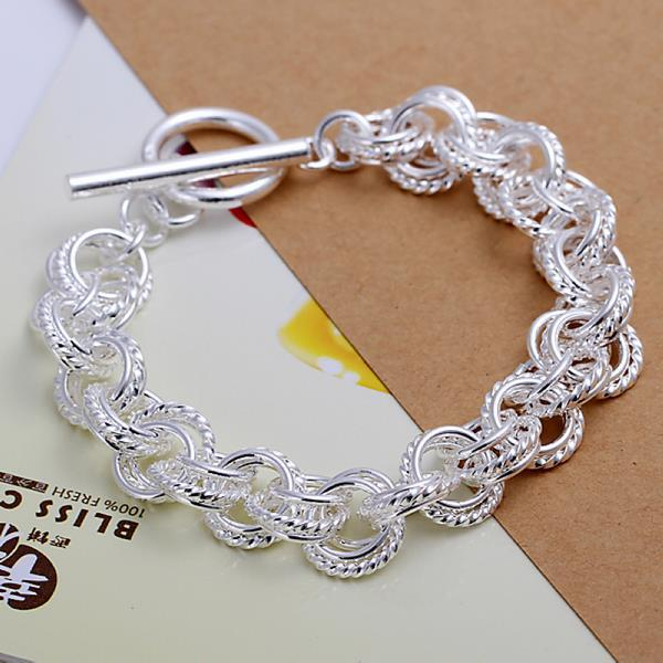 Vienna Jewelry Sterling Silver Curved Chain Bracelet