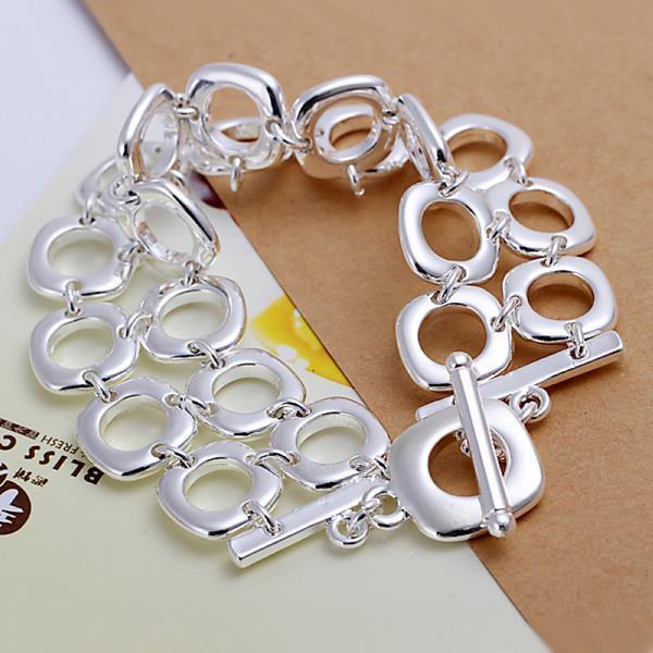 Vienna Jewelry Sterling Silver Muli Hollow Circular Bracelet