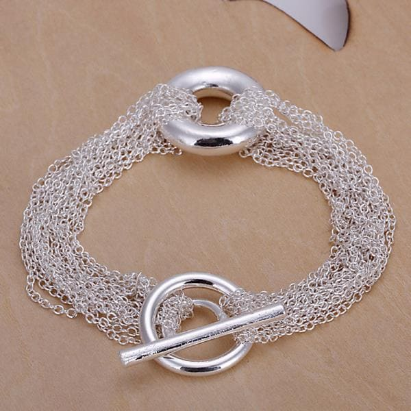 Vienna Jewelry Sterling Silver Multi Chain Clasp Closure Bracelet