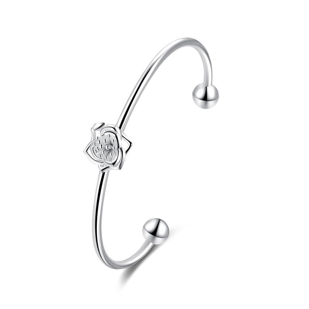 Sterling Silver Petite Curved Floral Emblem Bangle