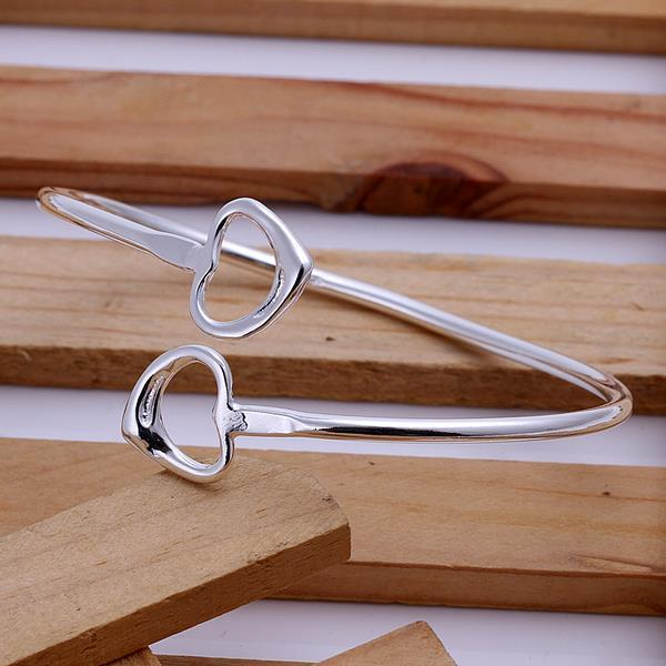 Sterling Silver Open Ended Heart Shaped Bangle